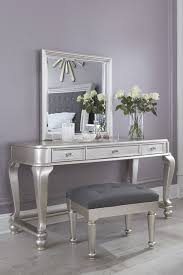 Youth Vanity Table Coralayne Old World Silver Wood Glass Backless Vanity Set W O