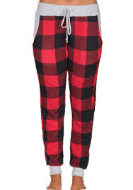 RedBlack Plaid Print Drawstring Buffalo Christmas High Waisted Pant