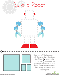 cutting squares and rectangles build a robot worksheet