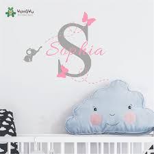 stickers elephant chambre bébé personnalisé nom éléphant papillon sticker pour filles enfants