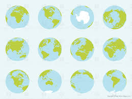 Map Of Globe Vector Map Of World Globes Complete Set Free Vector Maps