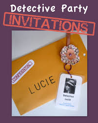 that cute little cake detective party invitations