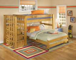 Wooden Bunk Bed Plans With Stairs by Bedroom Pink Wooden Loft Bed With White Iron Side Rail Built In