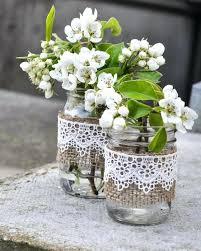 jar vases jars with burlap sleeves diy jars with burlap and lace