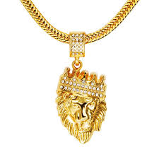 Name Chains Gold Wholesale Hip Hop Lion Crown Crystal Rhinestone Head Face Pendant