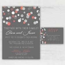polka dot wedding invitations polka dot coral silver and gray wedding invitation silver glitter