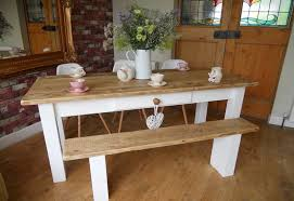 White And Oak Dining Table Painted Farmhouse Dining Table With Bench Farmhouse Design And