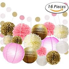 Pom Pom Decorations Amazon Com Paxcoo 16 Pcs Pink And Gold Party Supplies With Paper