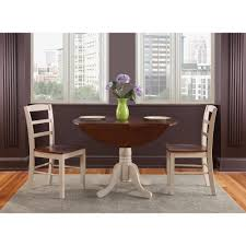 international concepts antiqued almond and espresso skirted dining