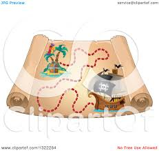 Treasure Island Map Clipart Of A Vintage Treasure Map With A Pirate Ship And Parrot On