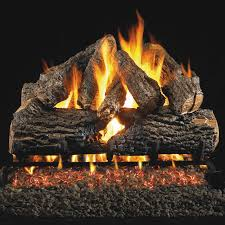 peterson real fyre 24 inch charred oak gas log set with vented