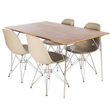 eames teak dining table u0027dtm u0027 and eiffel chairs u0027dsr u0027 set for