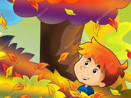 imagenes animadas de otoño niños de dibujos animados jugando divertido otoño fotos de stock