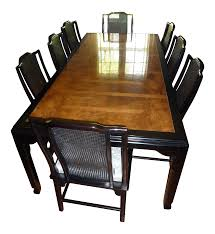 century black lacquer u0026 burled wood dining set chairish