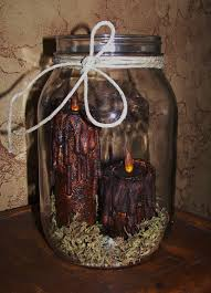 2 grungy primitive folk art halloween thanksgiving harvest candle