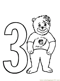 Bear Number3 Coloring Page Free Numbers Coloring Pages Number 3 Coloring Page