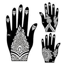 10pair mehndi henna left right hand tattoo stencil indian glitter