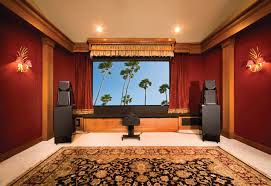 home theatre decoration ideas living room red and grey wall theme and brown leather seats on