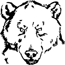 bear head black white line art scalable vector graphics svg