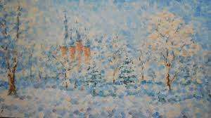 snow landscape village christian church winter oil painting