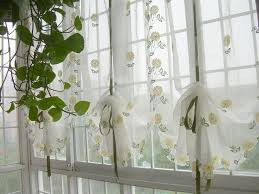 Balloon Curtains For Kitchen by Embroidered Yellow Sunflowers Balloon Shade Sheer Voile Cafe