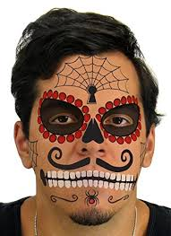 amazon com ruby sugar skull day of the dead temporary face tattoo