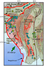 Map Burma Active Faults And Seismic Hazard In Myanmar Earth Observatory Of