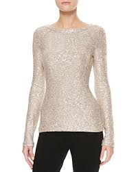 Gold Sequin Cardigan Oscar De La Renta Long Sleeve Sequin Sweater Gold
