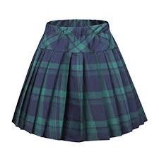 plaid skirt coco women s elastic waist tartan pleated school skirt at