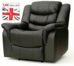 luxury chunky black leather cinema recliner chair w massage