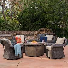 augusta patio furniture 5 piece outdoor wicker swivel rocker and