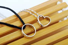 couple necklace chains images 925 sterling couple lovers round heart pendants necklaces jewelry jpg