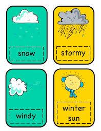 weather cards preschool printables