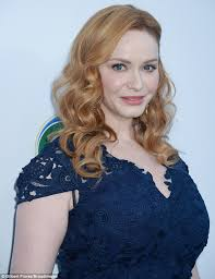 hairstyle for evening event christina hendricks is a flawless beauty in navy frock daily