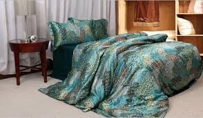 Featherbedding Peacock Feather Bedding Sets Silk Satin Blue Super King Size Queen