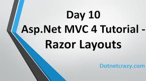 layout design in mvc 4 day 10 asp net mvc 4 tutorial for beginners razor layouts youtube