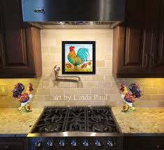 rooster kitchen decor wall art backsplash painting rooster kitchen backsplash