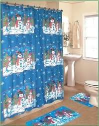 Christmas Bathroom Rugs Snowman 4 Pc Bath Set Shower Curtain Rugs Hooks Blue