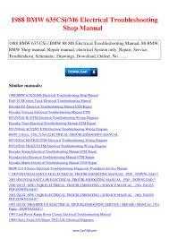 1988 bmw 635csi m6 electrical troubleshooting shop manual by nana