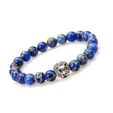man bracelet stone images Buy sn0691 lion bracelet mens blue variscite lion jpg