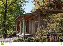 Japanese Style Garden by Wooden Summer House In Japanese Style Stock Photo Image 72846730