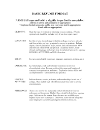 Hotel Resume Format Basic Sample Resumes Template