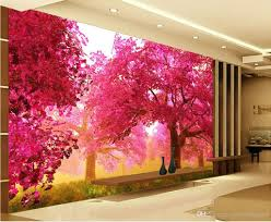 Pink Wallpaper For Walls by Pink Cherry Tree Grassland Tv Wall Decoration Painting Mural 3d