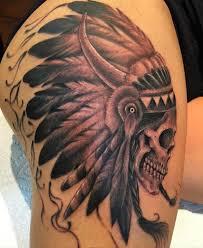 skull on right thigh