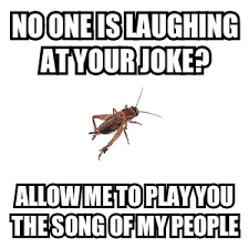 Crickets Chirping Meme - cricket song meme by nicklaura memedroid