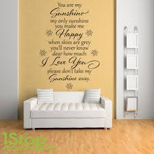 You Are My Sunshine Wall Decor You Are My Sunshine Wall Sticker Quote Bedroom Home Love Wall