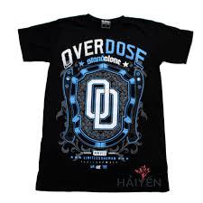 o thun OverDose Thái Lan mu đen in logo OD trªn chiếc khiªn xanh
