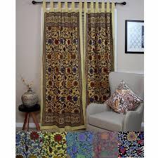 Sunflower Yellow Curtains Handmade 100 Cotton Sunflower Floral Tab Top Curtain Drape Door