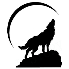 free shipping howling wolf at crescent moon vinyl wall decal home