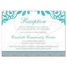 Wedding Invitation Insert Cards Turquoise Silver Wedding Reception Card Silver Grey And Turquoise Lace